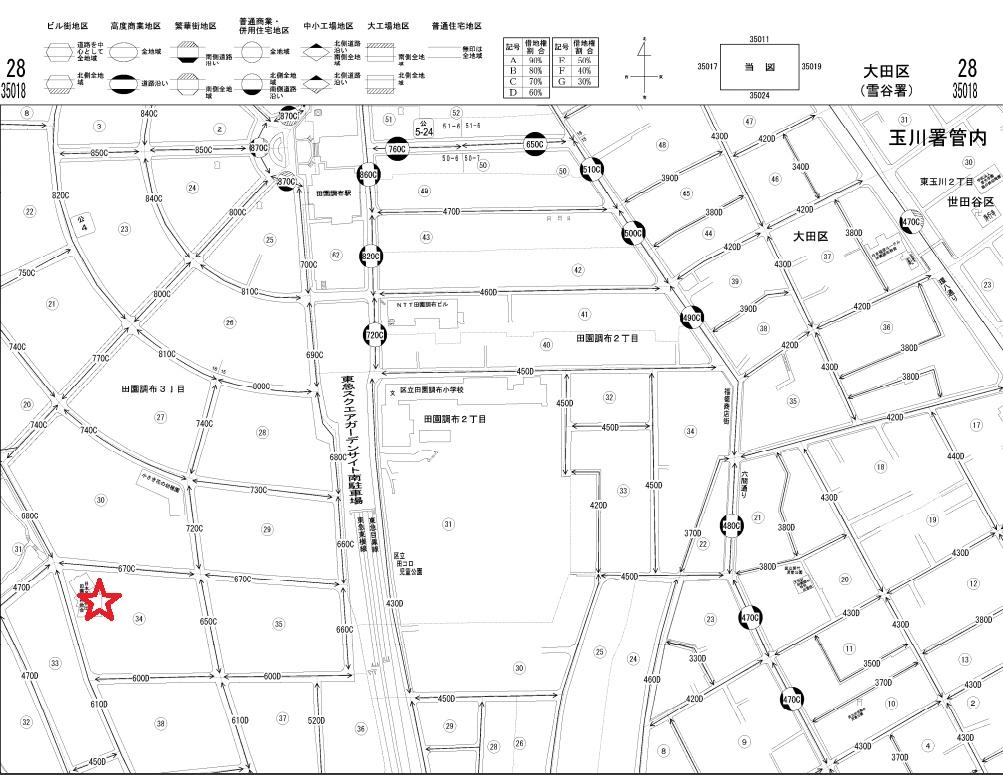 田園調布 35018 路線価図