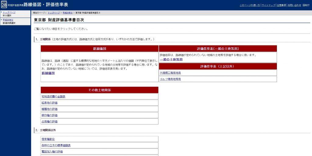 東京都 財産評価基準書目次