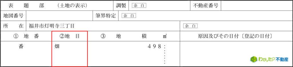 地目:畑(登記事項証明書サンプル)